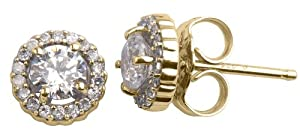 10k Yellow Gold Diamond Martini Halo Stud Earrings (3/4 cttw, I-J Color, I1-I2 Clarity)