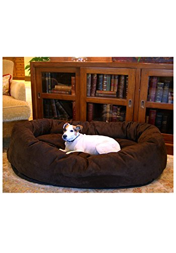 Majestic Pet 52-Inch Suede Bagel Dog Bed, Chocolate