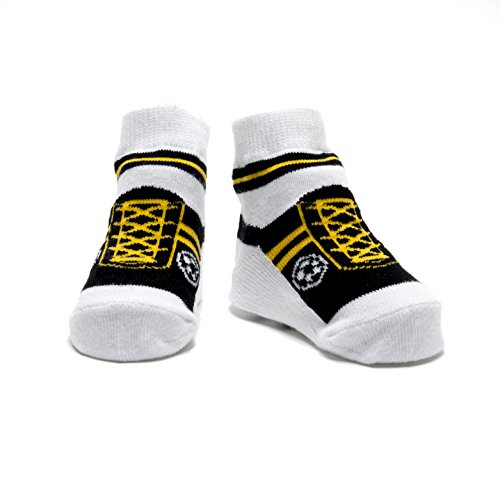 Baby Emporio-1 paio calzini del bambino ragazzo - sacchetto regalo-antiscivolo suole-0-9 mesi (Calcio Giallo)