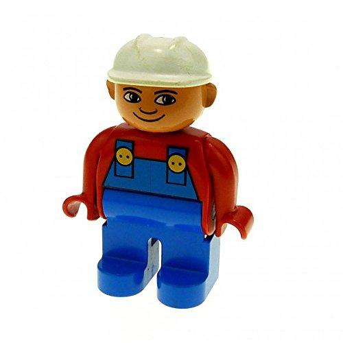 1 x Lego Duplo Figur Mann Bauarbeiter Hose blau