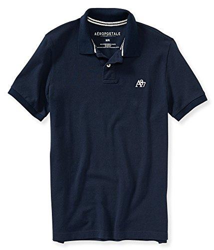 (エアロポステール)AEROPOSTALE 半袖ポロシャツ A87 Solid Logo Pique Polo ディープネイビー Deep Navy 【並行輸入品】