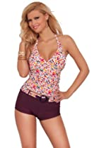 Womens Summer Printed Halter Long Tankini Boyshort Two Piece New Swimwear (Large, Orange Daisy)