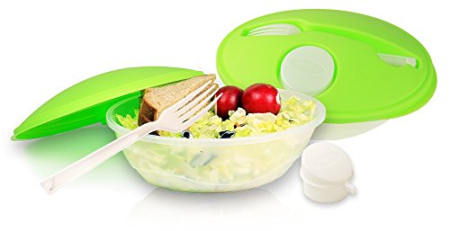 2 Sets - Portion Control Containers for Weight Loss Lunch Box Set w/ Fork and Sauce Container for Kids School Lunches