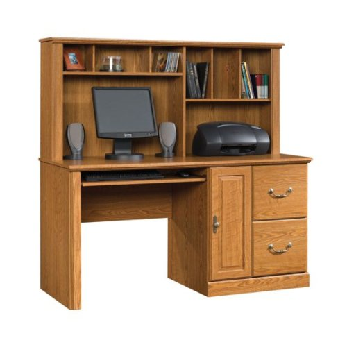 Oak Finish Computer Desk w/ Hutch & File Cabinet Drawer