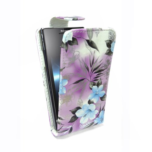 StyleBitz / Sony Xperia S / lt26i / stylish purple & blue floral Stoff Flip fall / neu