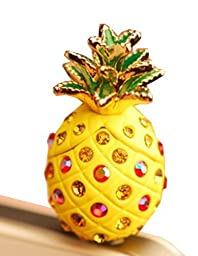 EVTECH(TM) Dust Plug-earphone Jack Accessories Yellow Pineapple Charms / Dust Plug / Ear Jack (for Samsung galaxy S4 i9500, iPhone 3 3GS 4 4S 5, iPad 1 2 3 4 mini, Google Nexus 4, Samsung Note 2 N7100, galaxy S3 i9300, i8190, i8262D, S2 i9100, i9268, S583