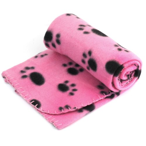 Pet Dog Cat Puppy Kitten Soft Blanket Doggy Warm Bed Mat Paw Print Cushion (Pink)