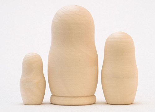 Unpainted DIY Blank 3 Piece Wood Russian Nesting Doll Matryoshka Stacking Dolls