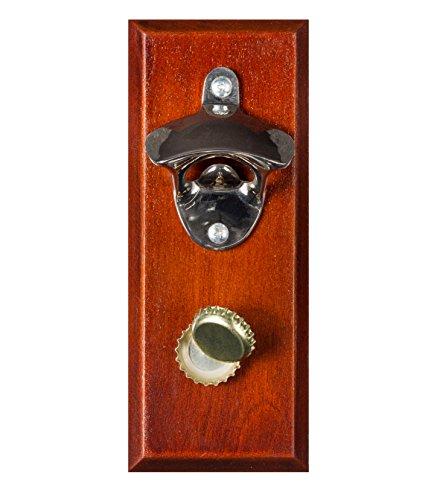 Magnetic Bottle Opener - Cap Catcher, Wall-Mounted Bottle Opener, Refrigerator Magnet - Walnut (Fridge Bottle Opener compare prices)