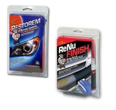 Headlight Restoration, Exterior Trim Restoration, ReNu Finish, Restorem, -RF175 Automotive Trim Restorer/Restoration & Restorem RS 102 Headlight Restoration Combo Kit.