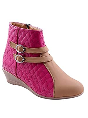 Adorn Pink Patent Leather Women Boots