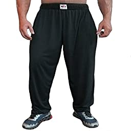 MUSCLE ALIVE Mens Bodybuilding Baggy Pants Cotton Size XL Black