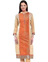Orange And Beige Cotton A Line Kurta