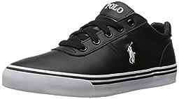 Polo Ralph Lauren Men\'s Hanford Sneaker, Black Leather, 11 D US