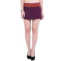 TUNTUK Women's Reversible Skirt Maroon Cotton Skirt
