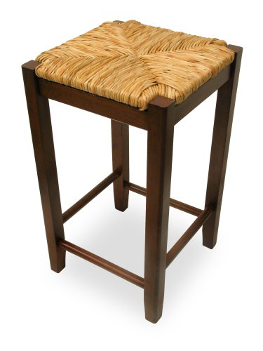 Fiber Rush Seat Backless Counter Stool - Set of 2