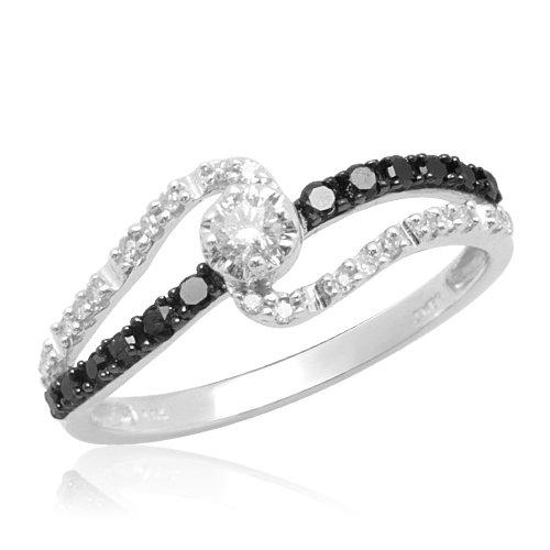 10k White Gold Black and White Diamond Promise Ring (1/4 cttw, I-J Color, I2-I3 Clarity), Size 8