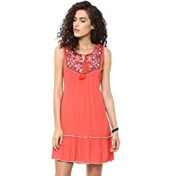 Bhama Couture Coral Embroidered Rayon Crepe Short dress X-Large