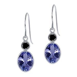 2.56 Ct Oval Blue Tanzanite Black Diamond 14K White Gold Earrings