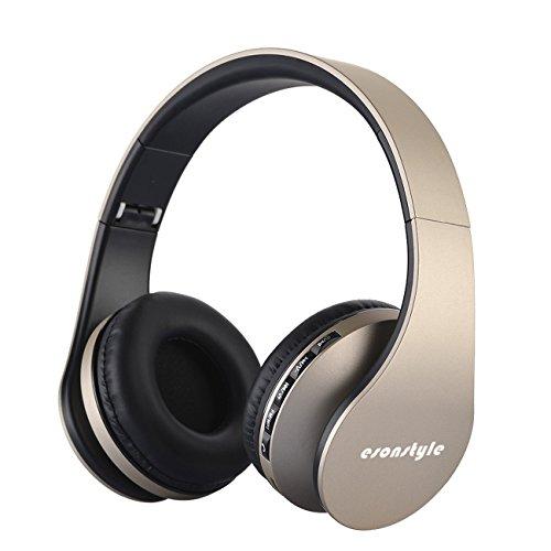 Esonstyle® 4 en 1 inalámbrico Bluetooth Plegable Audio Estéreo Receptor de Cabeza Sobre Oído Apoyo TF de Los Auriculares con Micrófono y Control de Volumen para el iPhone Android Teléfonos Celulares, MP3, Ordenador Portátil, Tablet (Oro)