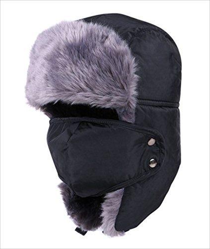 Centenarian Tooth あったか パイロット キャップ 飛行帽 防風 防寒 ニット帽 目以外をすっぽり包めるので、バイクや自転車の運転時に最適です! ファーがついており、雪の日でもあったか! 男女兼用 (ブラック)