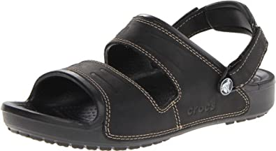 crocs Men's 14325 Yukon Two-Strap Clog,Black/Black,9 M US