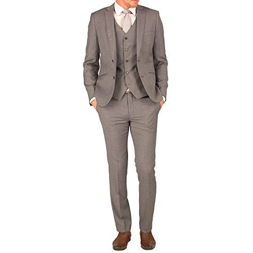 Grey Mens French Connection Mens Slim Fit Two Button Three Piece Suit Grey Shark