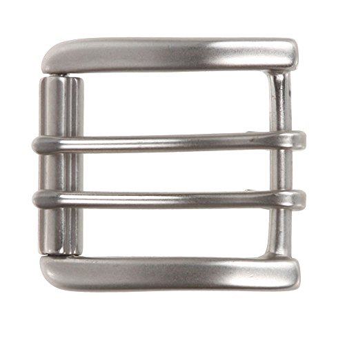 "1 1/2"" (38 mm) Nickel Free Double Prong Square Roller Belt Buckle Color: Antique Silver"