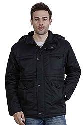 Hiver Mens Woolen Jacket (HIVER - JACKET -D-BLACK -11-Small, Black, Small)