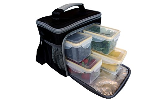Meal Prep Bag By Maxpak - Insulated Meal Management Lunch Box Including 4 Large Bpa Free Portion Control Meal Prep Containers (Deep Freezer Stand Up compare prices)