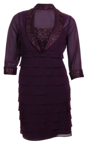 S L Fashions Women's Georgette Tiered Beaded Dress with Jacket (14, Aubergine)