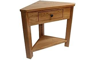 oak corner table plantstand lamptable small hallway