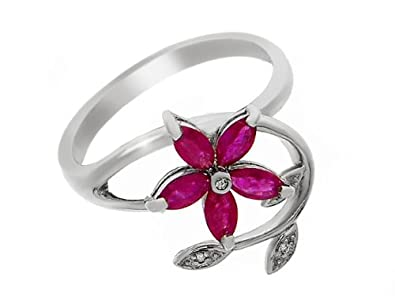 9ct White Gold Ruby and 0.017ct Diamond Ring