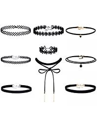 Mudder Choker Necklaces Velvet Leather Lace Gothic Tattoo Stretch Choker Necklace with Bracelet, Black, 9 Pieces