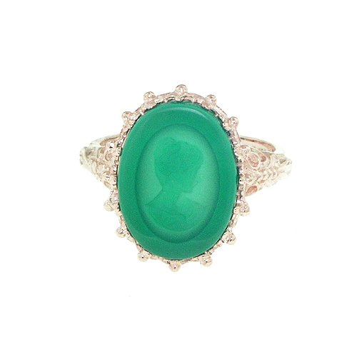 9ct Rose Gold Ladies Green Chrysoprase Itaglio Ring - Size L - Free Delivery - Finger Sizes L to Z Available