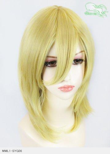 スキップウィッグ 魅せる シャープ 小顔に特化したコスプレアレンジウィッグ フェザーミディ イエローゴールド
