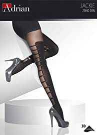 Jackie Ladies Patterned Tights 20/40 Denier Sensual and Elegant Hosiery BNIB by Adrian (3 / M, BLACK ( NERO ))