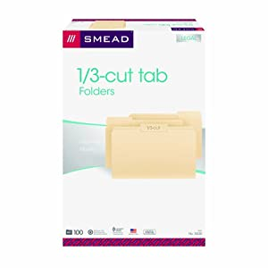 Smead File Folders, 1/3-Cut Tab,  Legal Size, Manila, 100 Per Box (15330)
