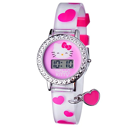 Hello-Kitty-Silver-Tone-Digital-Heart-Charm-Watch-Kids