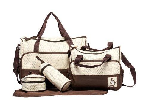 Tonwhar Large Capacity Mummy Bag 5 Piece Portable Diaper Handbag (Coffee) front-541413