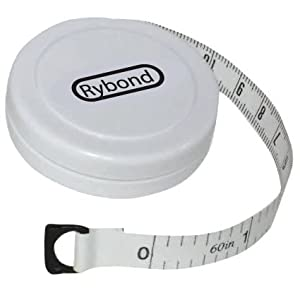 Rybond Fabric Measuring Tape Fully Retractable RRP £4.46 [Measurement in inches and Centimetres/Millimeters, 1.5 meters 60 Inches]