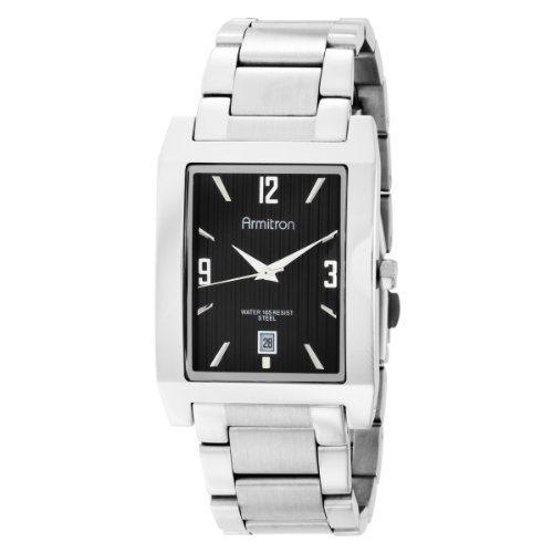 Armitron Men's 204321BKSV Silver-Tone Stainless Steel Black Rectangular Dial Dress Watch