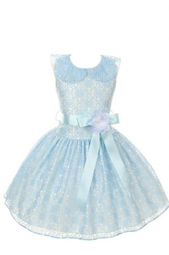 Cinderella Couture Girl's Blue Lace Taffeta Girl Dress