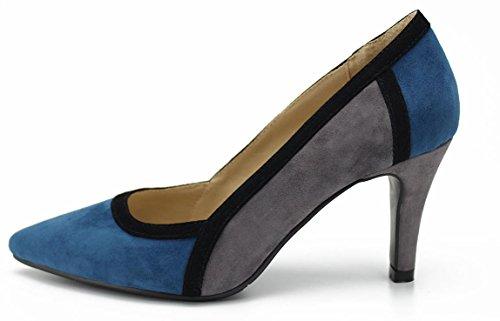Honeystore レディースパンプス レザー 通勤 パンプス 革靴 ポインテッドトゥ ハーヒール スエード調 バイカラー スエードパンプス