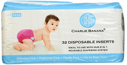 Charlie Banana Disposable Inserts In Bag, Natural, 32-Count