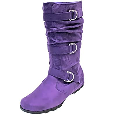 luxury divas purple suede winter mid calf knee