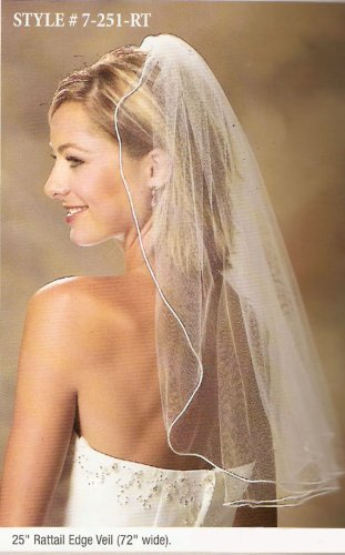 1 Layer Elbow Length Veil w/ Rattail Edge