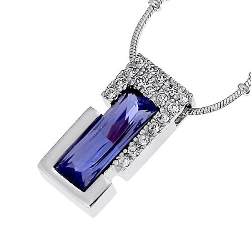 Oliver Weber 8696 Rhodium Plated Metal Swarovski Crystal Violet Ladies' Pendant ,39.5cm+ 4cm extender Chain