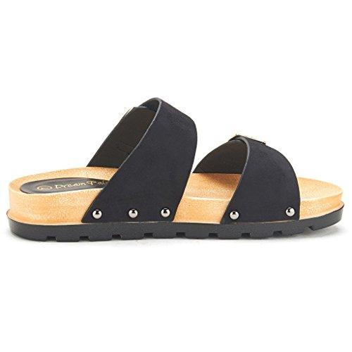 DREAM PAIRS ABI Women's Summer Open Toe Double Buckle Strap Fashion Design Slide On Flat Gladiator Sandals BLACK SIZE 8.5