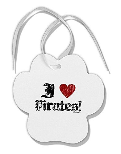 [TooLoud I Heart Pirates Paw Print Shaped Ornament] (Somali Pirate Costume)